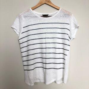 Massimo Dutti white striped sequin pattern t shirt